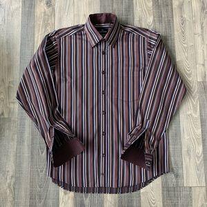 Bugatchi Uomo Flip Cuff Brown Long Sleeve Shirt